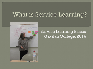Service Learning Basics Gavilan College, 2014