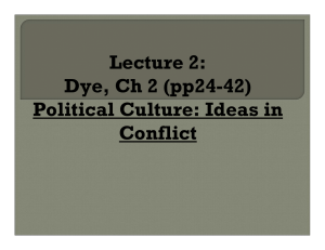 Lecture 2: Dye, Ch 2 (pp24-42) Political Culture: Ideas in Conflict