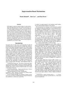 Impersonation-Based Mechanisms Moshe Babaioff , Ron Lavi , and Elan Pavlov