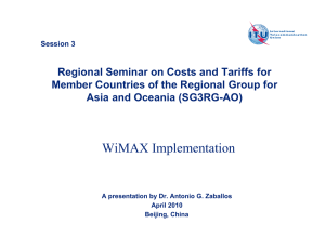 Regional Seminar on Costs and Tariffs for Asia and Oceania (SG3RG-AO)