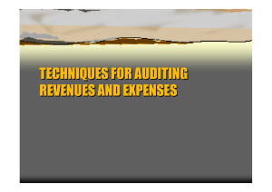 TECHNIQUES FOR AUDITING REVENUES AND EXPENSES