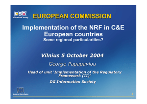 Implementation of the NRF in C&E European countries EUROPEAN COMMISSION