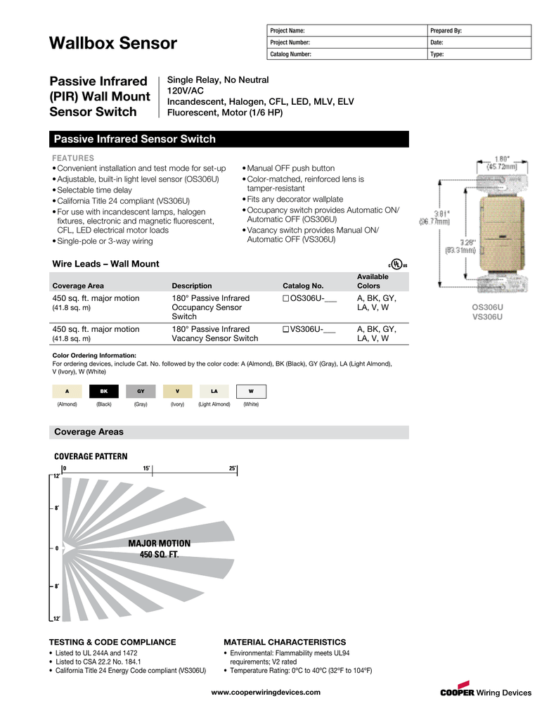 Motion Sensor Os306u Wiring Diagram Diagrams Cooper Occupancy Wallbox Passive Infrared Pir Wall Mount Switch Photoelectric