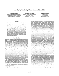 Learning by Combining Observations and User Edits Vittorio Castelli Lawrence Bergman Daniel Oblinger
