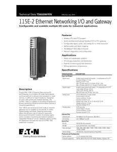 115E-2 Ethernet Networking I/O and Gateway TD032097EN Features