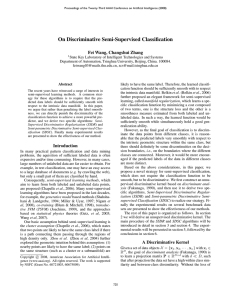 On Discriminative Semi-Supervised Classification Fei Wang, Changshui Zhang