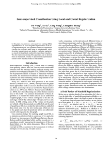Semi supervised Classification Using Local and Global Regularization Fei Wang