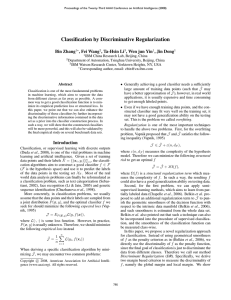Classification by Discriminative Regularization Bin Zhang , Fei Wang , Ta-Hsin Li