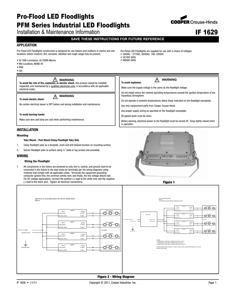 Crouse Hinds 480v Light Wiring Explained Diagrams Led Floodlight Diagram Pro Flood Floodlights Pfm Series Industrial If 1629 In Ground Runway Guard Lights
