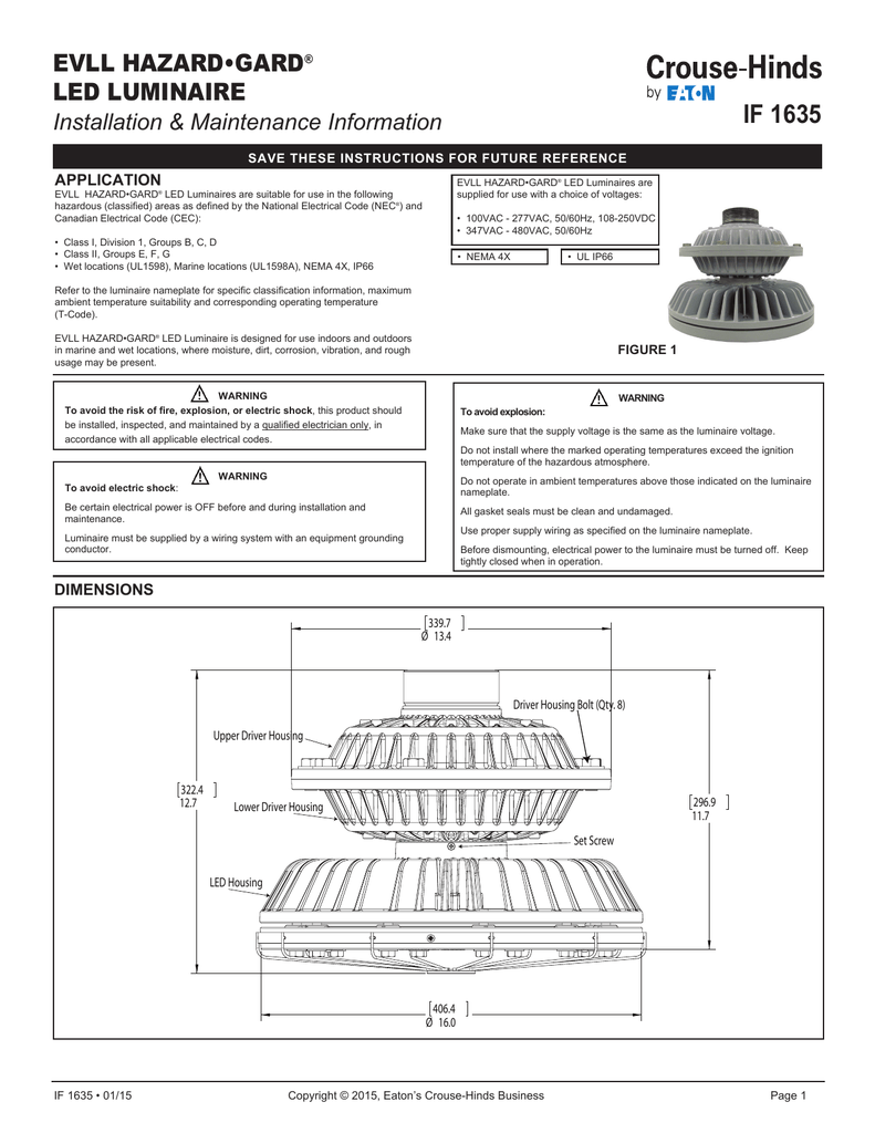 If 1635 Evll Hazardgard Led Luminaire Installation Maintenance 250vdc Wiring Diagram Information