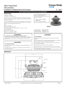 IF 1687 nEVLL Hazard•Gard LED Luminaire Installation & Maintenance Information