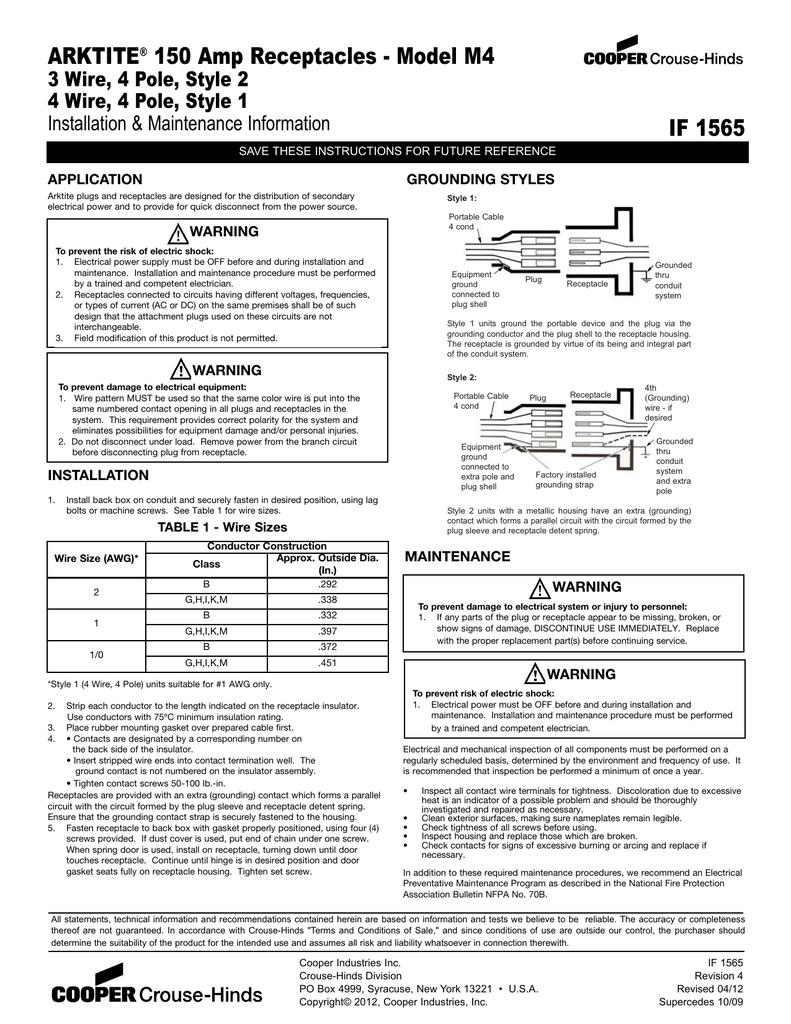 ARKE 150 Amp Receptacles - Model M4 IF 1565 M Cooper Wiring Diagram on cooper lighting diagrams, delta faucet diagrams, ge diagrams,