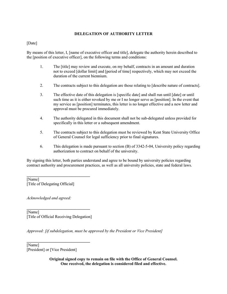 DELEGATION OF AUTHORITY LETTER Date – Delegation Letter
