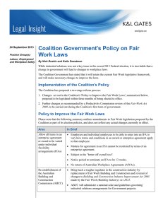 Coalition Government's Policy on Fair Work Laws