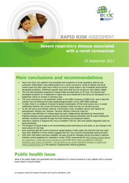 Main conclusions and recommendations RAPID RISK Severe respiratory disease associated