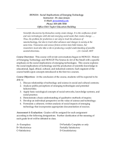 HON221:  Social Implications of Emerging Technology  Instructor:  Dr. Jane Jensen  E‐Mail: