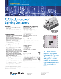 XLC Explosionproof Lighting Contactors NEW PRODUCT Eaton's Crouse-Hinds Business