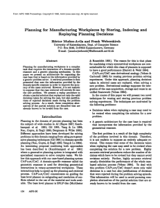 Planning  for  Manufacturing  Workpieces  by ... Indexing  and Replaying  Planning  Decisions