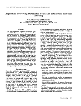 Algorithms  for  Solving  Distributed Constraint Satisfaction Problems