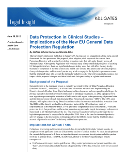 Data Protection in Clinical Studies – Protection Regulation