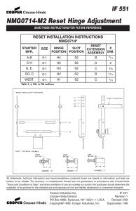 NMG0714-M2 Reset Hinge Adjustment IF 551 RESET INSTALLATION INSTRUCTIONS NMG0714*