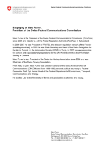 Biography of Marc Furrer, President of the Swiss Federal Communications Commission