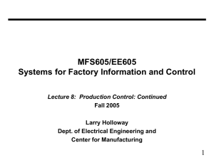 MFS605/EE605 Systems for Factory Information and Control 1