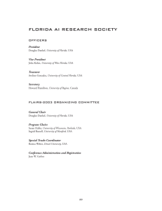 FLORIDA AI RESEARCH SOCIETY OFFICERS FLAIRS-2003 ORGANIZING COMMITTEE President