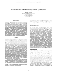 Social Interaction under Uncertainty in Multi Agent Systems Noam Hazon Introduction