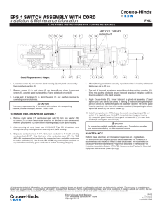 EPS 1 SWITCH ASSEMBLY WITH CORD Installation & Maintenance Information IF 432