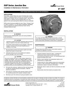 GUP Series Junction Box IF 1497 Installation & Maintenance Information APPLICATION