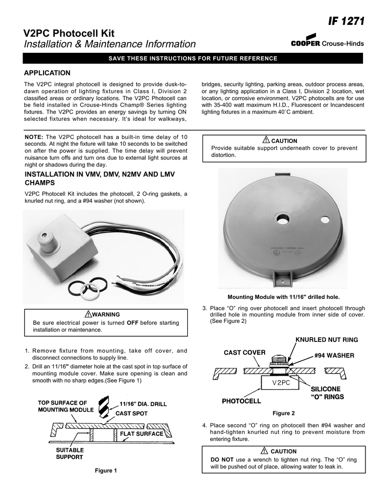If 1271 V2pc Photocell Kit Installation Maintenance Information How To Wire A Light Fixture On Outdoor Wiring Application