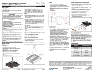 Industrial High Bay LED Luminaires Installation & Maintenance Information IF 1673 WIRING