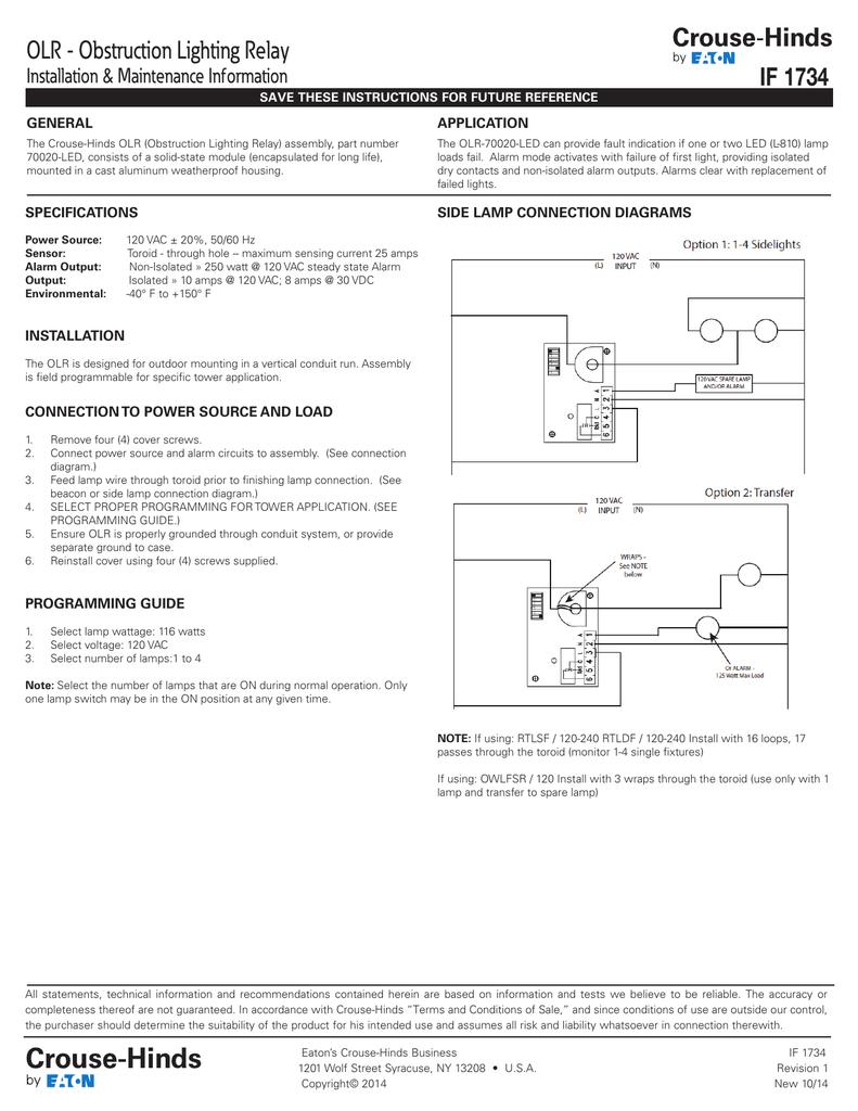 Olr Obstruction Lighting Relay If 1734 Installation Maintenance 120v Ac Power Supply Wiring Diagram Information General