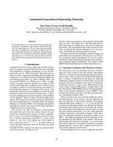 Automated Generation of Interesting Theorems Yury Puzis, Yi Gao, Geoff Sutcliffe