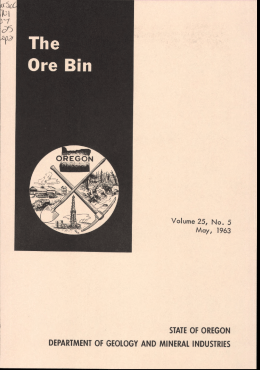 STATE OF OREGON DEPARTMENT OF GEOLOGY AND MINERAL INDUSTRIES May, 1963