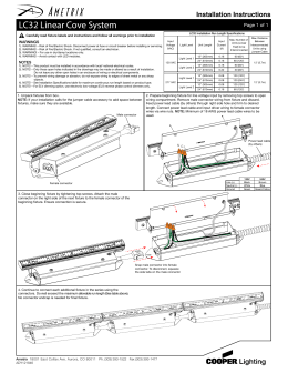 LC32 Linear Cove System  Installation Instructions Page 1 of 1