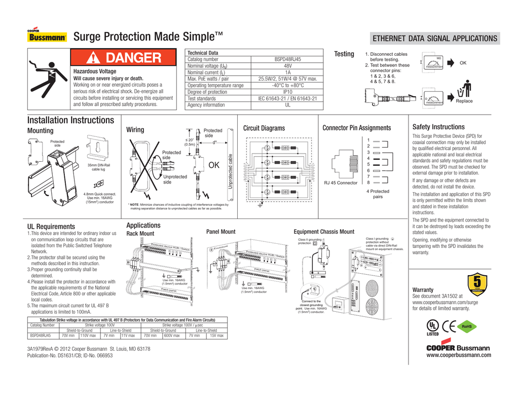 Surge Protection Made Simple Ethernet Data Signal Applications 5 Pin Din To 35mm Wiring Diagram