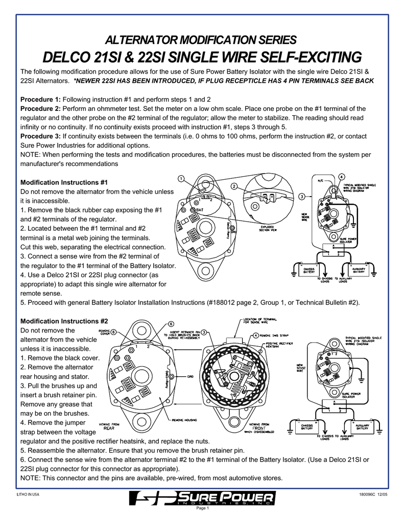 [SCHEMATICS_4ER]  DELCO 21SI & 22SI SINGLE WIRE SELF-EXCITING ALTERNATOR MODIFICATION  SERIES | Delco 21si Alternator Wiring Diagram |  | Studylib