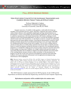 Fall 2004 Seminar Series New Synthesis Concepts for Inorganic Nanowires and