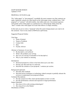 EE499 SENIOR DESIGN Updated 2-9-05  PROPOSAL OUTLINE by lgh