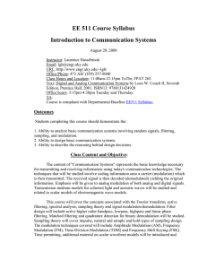 EE 511 Course Syllabus Introduction to Communication Systems