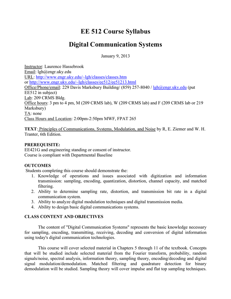Ee 512 Course Syllabus Digital Communication Systems