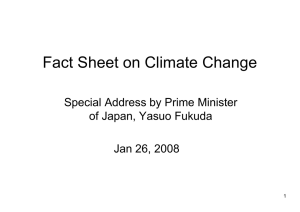 Fact Sheet on Climate Change Special Address by Prime Minister