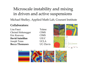 Microscale instability and mixing in driven and active suspensions Collaborators: