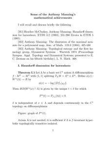 Some of the Anthony Manning's mathematical achievements