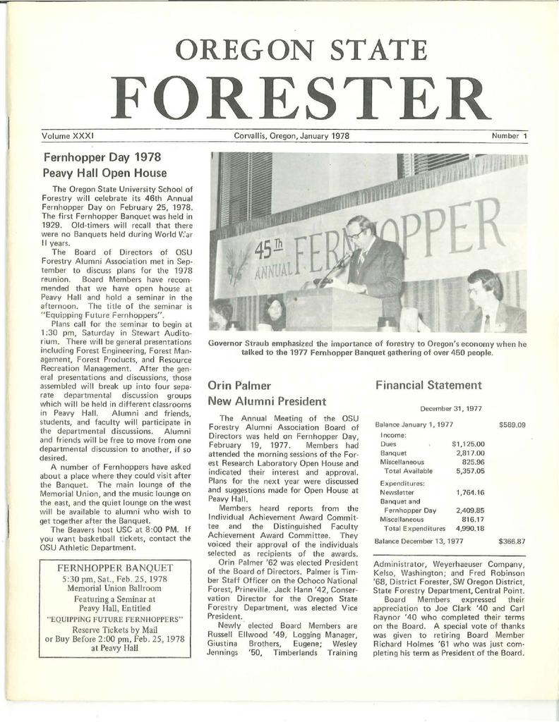 FORESTER OREGON STATE Fernhopper Day 1978 Peavy Hall Open