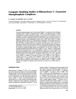 Computer Modeling Studies of  Ribonuclease T,-Guanosine Monophosphate Complexes P.