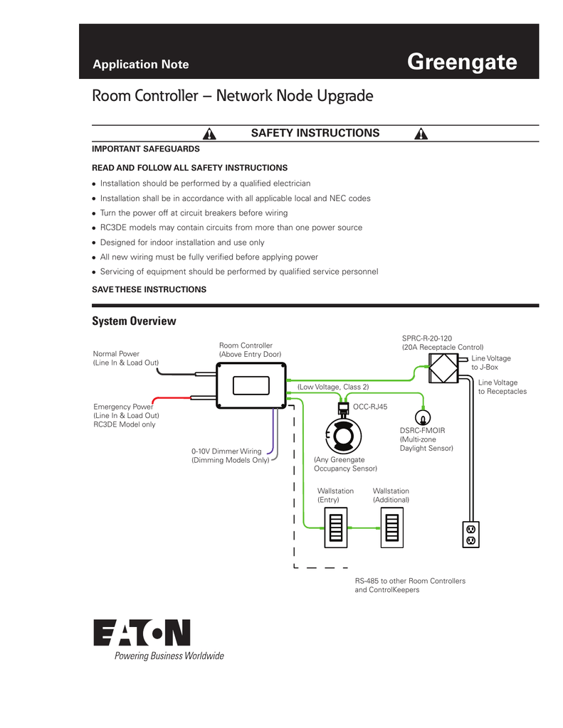 Greengate Room Controller Network Node Upgrade Application Note Eaton Pull Out Switch Wiring Diagram Safety Instructions