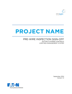 PROJECT NAME  PRE-WIRE INSPECTION SIGN-OFF